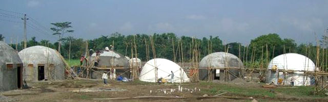 Image of dome village under construction